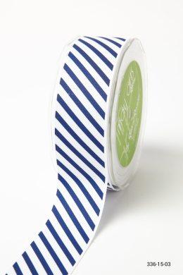 Navy Grosgrain w/ Diagonal Stripes Print Ribbon