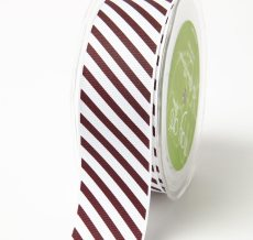 Burgundy Grosgrain w/ Diagonal Stripes Print Ribbon