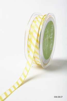 Yellow Grosgrain w/ Diagonal Stripes Print Ribbon