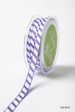 Purple Grosgrain Ribbon with Diagonal White Stripes