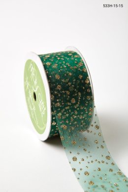 "1.5"" 533H-15-15 GREEN/GOLD GLITTER DOTS"