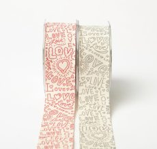 Hand Drawn Love Linen Ribbon