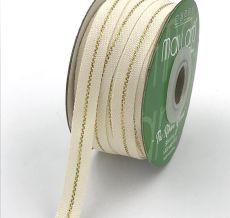 gold metallic line canvas cotton ribbon