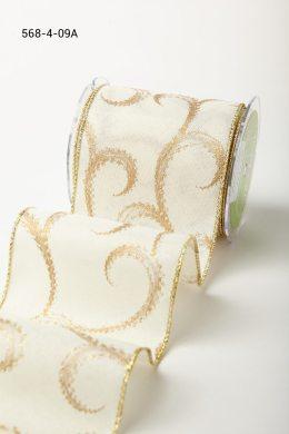 Ivory/Gold Swirl Wired Canvas w/ Gold Glitter Print Ribbon