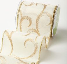 Ivory/Gold Swirl Wired Canvas w/ Gold Glitter Print Ribbon