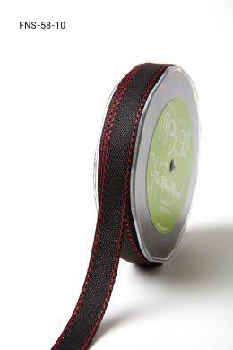 Black w/ Red Stitch Twill Ribbon w/ Red Stitched Edge Ribbon