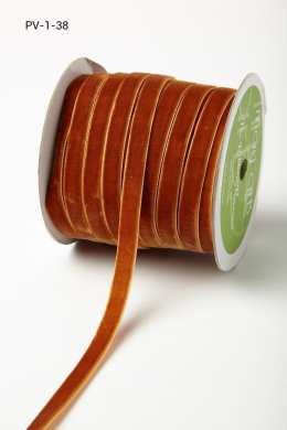 Burnt Orange Velvet/Woven Ribbon