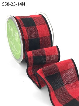red and black buffalo check wired ribbon
