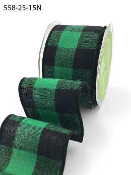 green and black buffalo check wired ribbon