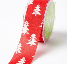 white christmas tree red jute ribbon
