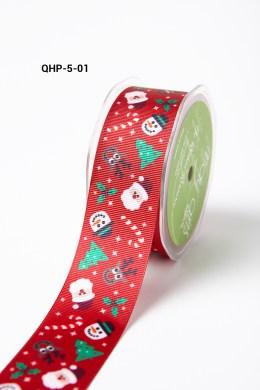 RED SANTA/CANDY CANE/TREE/HOLLY Grosgrain w/ Cartoon Print Ribbon