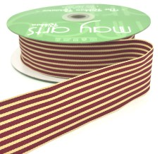 burgundy and dark ivory tan striped grosgrain ribbon