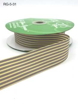 grey and dark ivory tan striped grosgrain ribbon