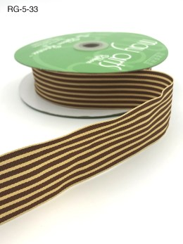 chocolate brown and dark ivory tan striped grosgrain ribbon