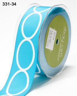 white oval printed turquoise blue grosgrain ribbon