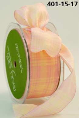 Variation #154738 of 1.5 Inch Solid / Ivory Plaid (Wired) Ribbon