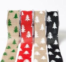 "1.5"" Christmas tree print jute ribbons"