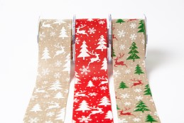 "2.5"" Christmas print jute ribbons"