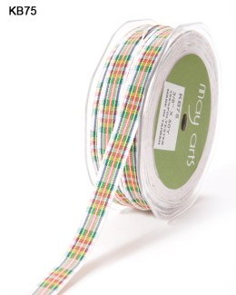 red and green and blue and yellow scotch plaid gingham ribbon
