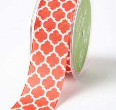 ORANGE/IVORY Linen Lattice Print Ribbon