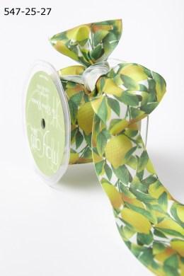Lemons Leaves Print Ribbon Yellow/Green/White