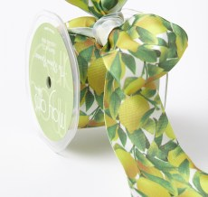 Lemons Leaves Print Ribbon Yellow/Green/White