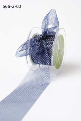 Navy/White Sheer Mini White Dot Ribbon