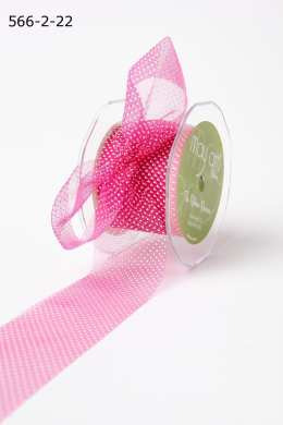 Fuchsia/White Sheer Mini White Dot Ribbon