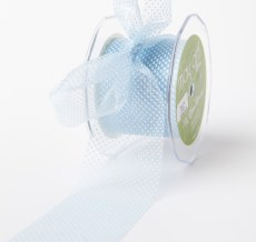 Blue/White Sheer Mini White Dot Ribbon