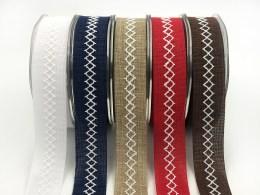 "1"" white diamond stitch canvas linen ribbons"
