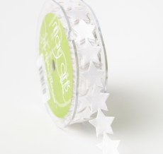 Adhesive Satin Stars Ribbon White