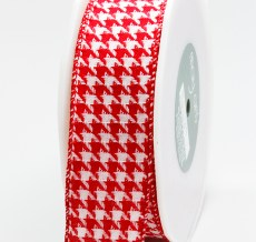 Variation #155154 of 1.5 Inch Woven Houndstooth / Nylon Edge Ribbon