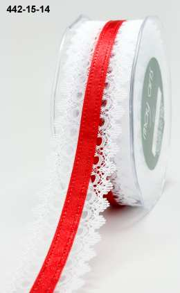 Variation #155209 of 1.5 Inch White Lace / Satin Center Ribbon