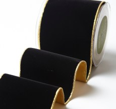 Variation #156031 of 4 Inch Velvet Ribbon With Gold Backing