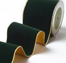 Variation #156033 of 4 Inch Velvet Ribbon With Gold Backing