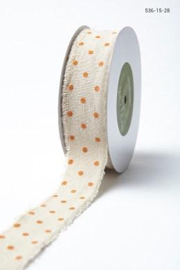 Variation #156012 of 1.5″ Natural Ribbon With Velvet Polka Dots
