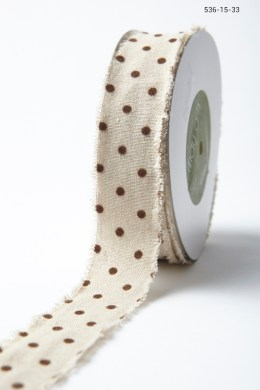 Variation #156013 of 1.5″ Natural Ribbon With Velvet Polka Dots