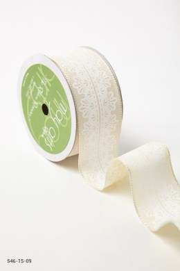 Variation #157286 of 1.5 Inch White Lace Center Design Ribbon