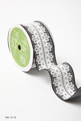 Variation #157288 of 1.5 Inch White Lace Center Design Ribbon