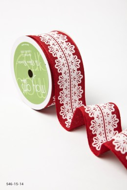 Variation #157290 of 1.5 Inch White Lace Center Design Ribbon