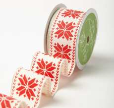 Variation #184623 of 1.5 Inch Wired Scandinavian Snowflake Ribbon