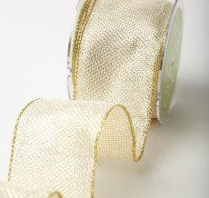 Variation #184630 of 2.5 Inch Wired Tweed Woven Metallic Ribbon