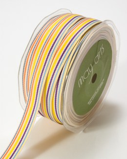 Yellow,Purple and Blue Grosgrain Variegated Stripes Ribbon