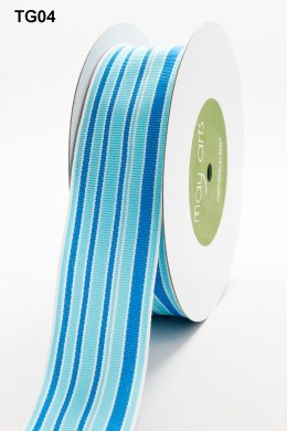 Blue Turquoise and White Grosgrain Variegated Stripes Ribbon