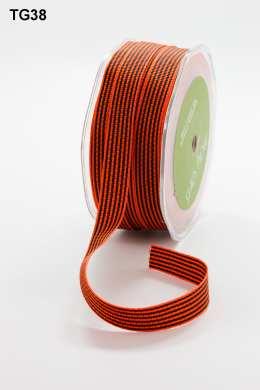 Orange and Black Grosgrain Variegated Stripes Ribbon