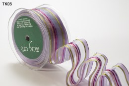 Lavender Sheer Lines Wired Ribbon