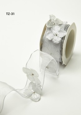 Silver Flowers/Pearl Center/Wired Ribbon