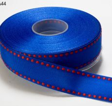Royal Blue and Red Stitched Grosgrain Ribbon