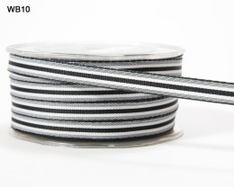 Black and White Grosgrain Stripes Ribbon