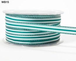 Green and White Grosgrain Stripes Ribbon